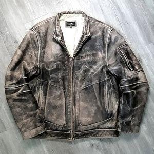 GIANNI genuine leather zip up brown jacket